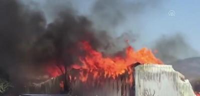Ahşap palet fabrikasında yangın