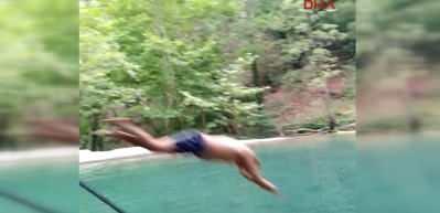 Alanya'da doğal havuza atladı, ölümden döndü! Korku dolu anlar kamerada
