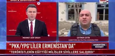 Azerbaycan-Ermenistan sınırındaki gelişmeleri aktaran Habertürk ekibinin yakınına füze düştü