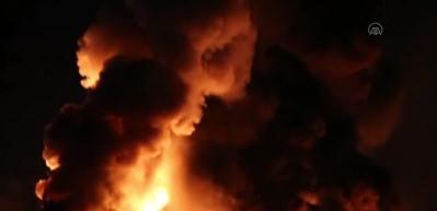 Azerbaycan'da boya fabrikasında yangın
