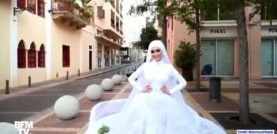 Beyrut'ta düğün fotoğrafı çektiren çiftin korku dolu anları kameraya yansıdı!