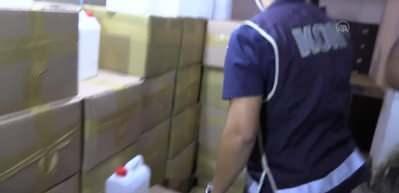 Bir depoda yaklaşık 5 ton etil alkol ele geçirildi