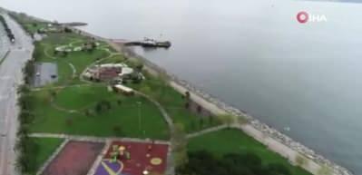Boş kalan Anadolu Yakası sahil şeridi havadan görüntülendi
