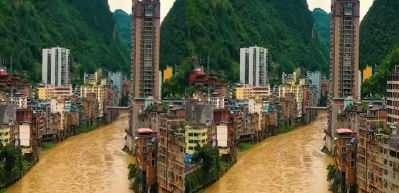 Bu kasabaya bayılacaksınız! Dağın eteklerindeki Yanjin'in ortasından nehir geçiyor