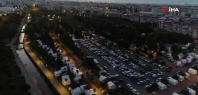 Çadır kent günün ilk ışıklarında böyle görüntülendi