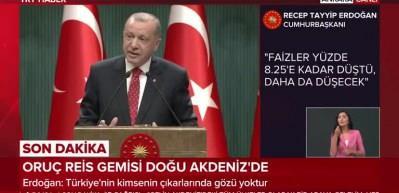 Cumhurbaşkanı Erdoğan: Türkiye ekonomide bu suni rüzgarlarla eğilip bükülebilecek bir ülke değildir