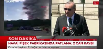 """Cumhurbaşkanı Erdoğan: """"Fabrika patlamasında 2 kişi vefat etti ve 1'i ağır 74 kişi yaralandı"""""""