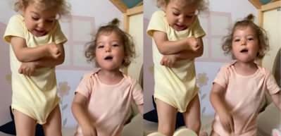 Dünyanın en güzel keman taklidi! Alin ve Lina kahkahalara boğdu...