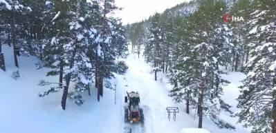 Erzincan'da mart karı...239 köy yolu kar nedeniyle ulaşıma kapandı