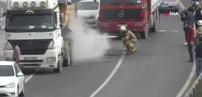 Haliç Köprüsü'nde hafriyat kamyonunda yangın çıktı!