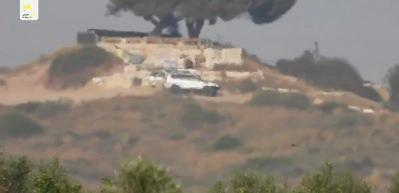 Hamas'ın anti tank füzesi ile İsrail hedefini vurma anı
