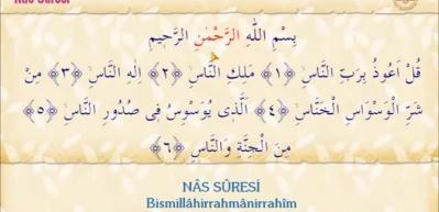 Nas Suresi Arapça okunuşu! Nas suresi meali