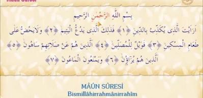 Maun Suresi Arapça okunuşu! Maun suresi meali