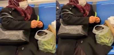 Metroda fasulye ayıklayan yaşlı teyze sosyal medyayı salladı!