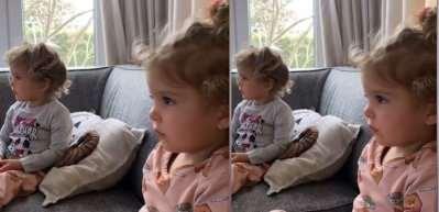 Pelin Akil 2 yaşına giren kızlarına ilk kez televizyon izletti!