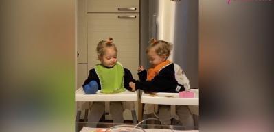 Pelin Akil'in ikizlerinden yüzleri güldüren video!