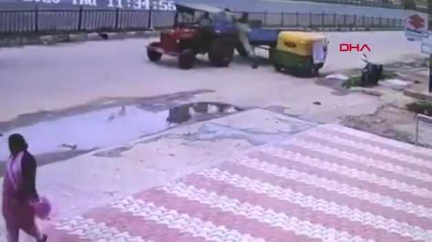 Kabloya basan adam 10 metre havaya uçtu