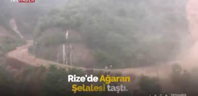 Rize'de Ağaran Şelalesi, aşırı yağışla taştı