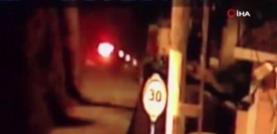 Sarıyer'de kamyonun şarampole uçma anı kamerada