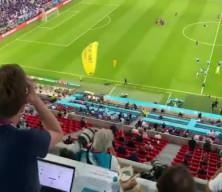Fransa-Almanya maçında bir gösterici sahaya paramotorla indi