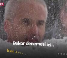 Litvanya'da rekor denemesi: 3 saat buz dolu tankın içinde durdu