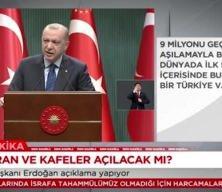 Cumhurbaşkanı Erdoğan normalleşme kararlarını açıkladı