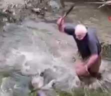 Yeşilırmak'ta boyu kadar balığı böyle yakaladı