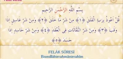 Felak suresi Arapça okunuşu! Felak suresi meali
