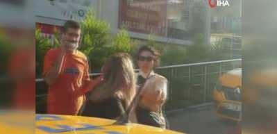 Taksici ile müşteri arasındaki indi bindi kavgası kamerada