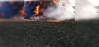 Tekirdağ'da 5 bin balya saman cayır cayır yandı