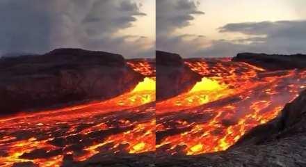 Hawaii'de yer alan Kilauea Dağı'dan akan lavlar yakından çekildi!