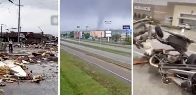 Tornado fırtınası binanın çatısını böyle uçurdu