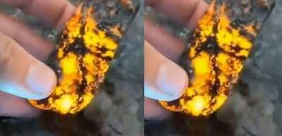 UV ışığın maruz kalınca altın olan sodalit taşı!