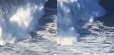 Yürekleri ağza getiren görüntüler: Alman Sörfçü Sebastian Steudtner 35 metre dalgada...