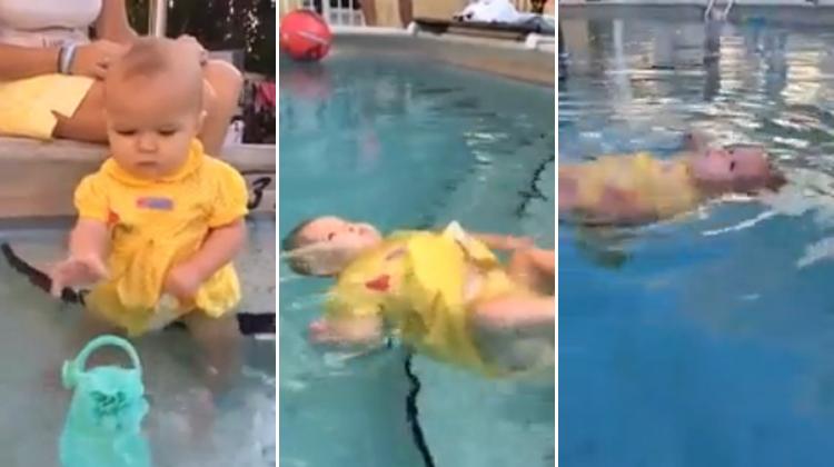 Kendi kendine yüzmeyi öğrenen bebek