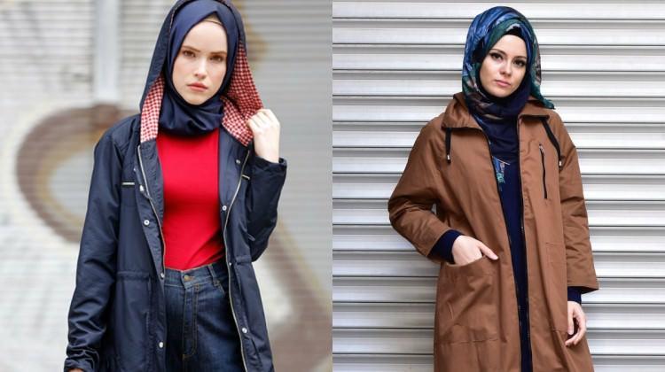 Tesettürlü kadınlar için yağmurluk modelleri