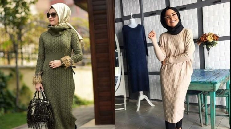 Tesettürlü kadınlar için triko elbise önerileri