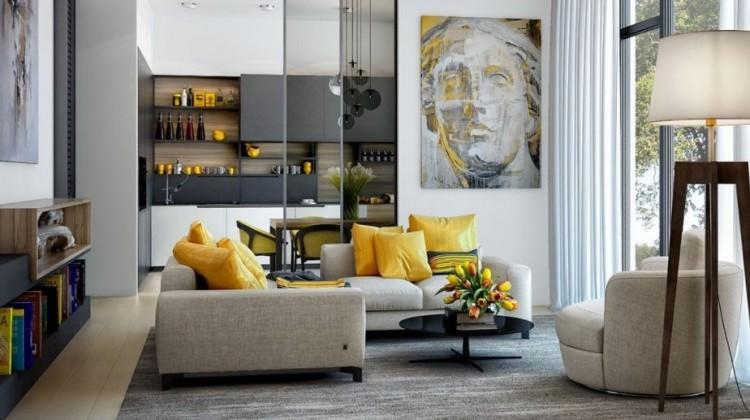 2018'in yeni salon dekorasyon trendi: Sarı ve gri