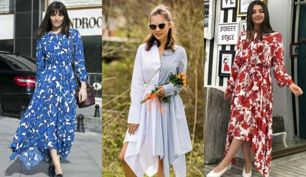 Asimetrik maksi elbise modası nedir?