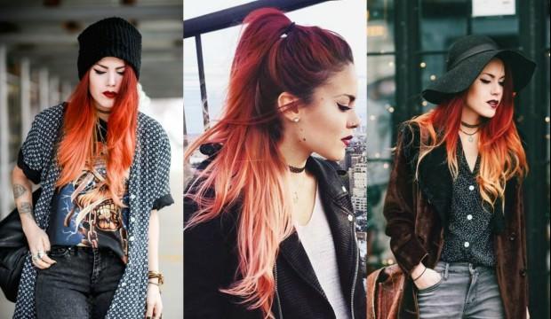 Kızıl turuncu ombre saç modası