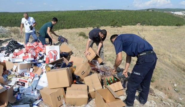 Uşak'ta kaçak sigara ve şaraplar imha edildi