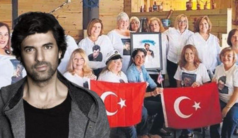 Engin Akyürek'e Türk bayrakları ile kutlama