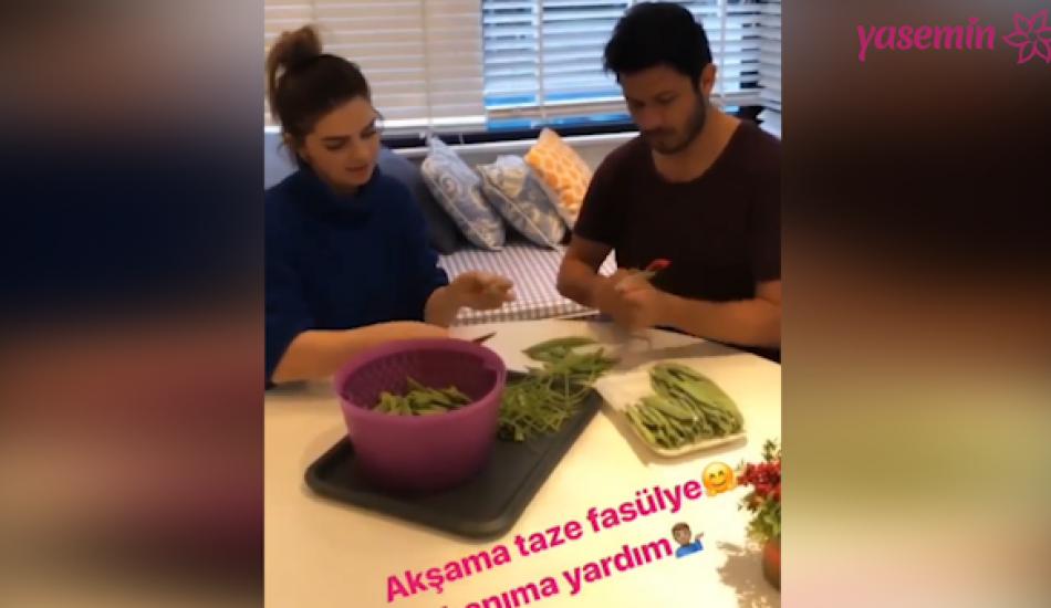 Pelin Karahan eşi ile yemek yaptığı anları paylaştı