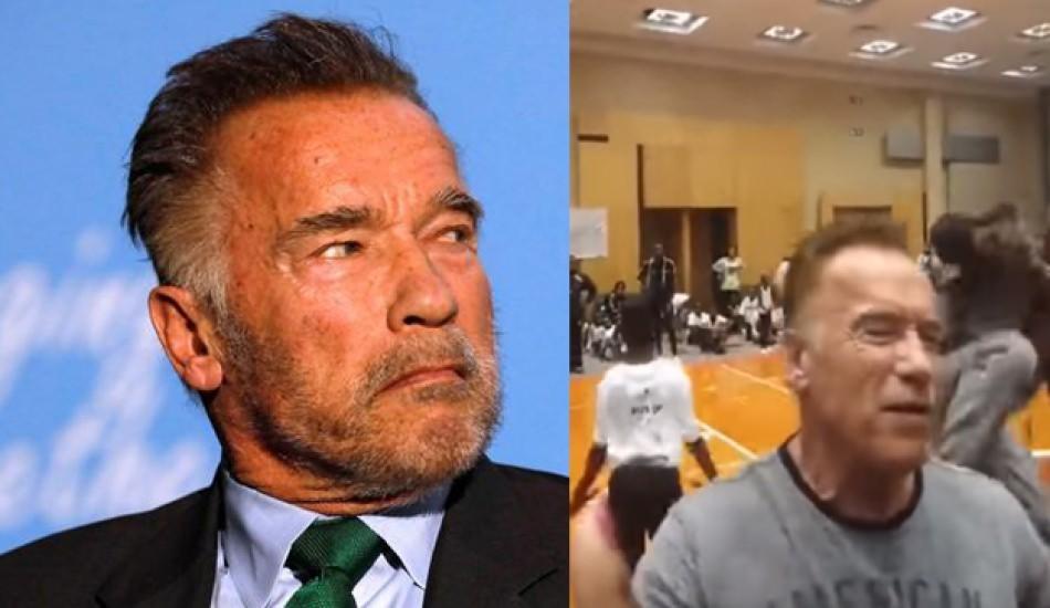 Dünyaca ünlü Schwarzenegger'e uçan tekmeli saldırı!