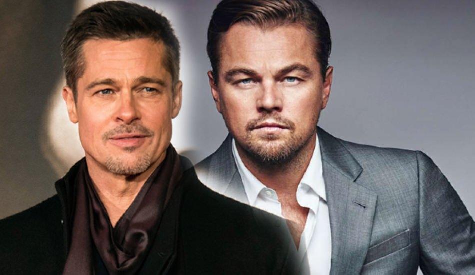 Brad Pitt ile Leonardo DiCaprio karşı karşıya! Brat Pitt çocuk gibi...