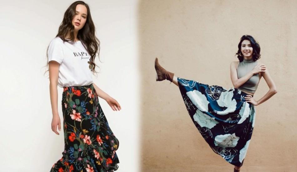 Aybüke Pusat'ın tercihi 2019 sonbahar sezonu çiçek desenli etek modelleri