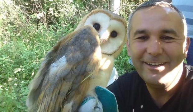 İpe dolanan peçeli baykuş kurtarıldı
