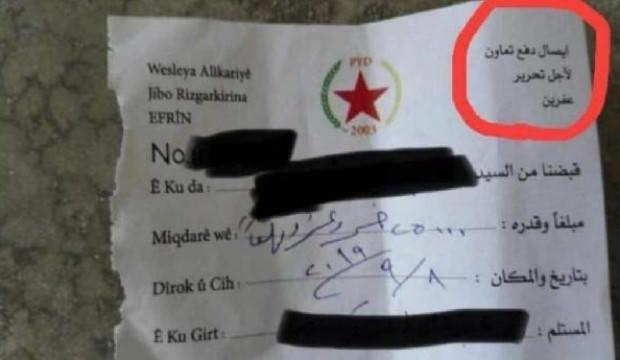 Makbuz ortaya çıktı! Terör örgütü YPG'den yeni skandal