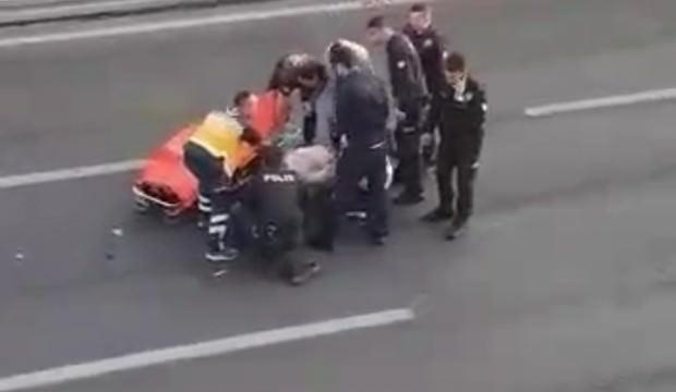 E-5'te korku dolu anlar: Üst geçitten atladı, araba çarptı