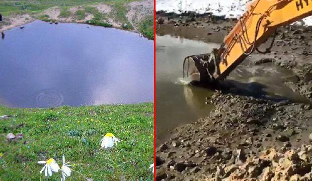 Gümüşhane'de şaka gibi olay! Define için göl yok edildi